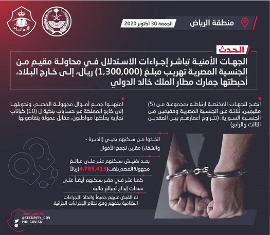 ضبط مجموعة مقيمين امتهنوا جمع أموال مجهولة المصدر وتهريبها إلى خارج المملكة